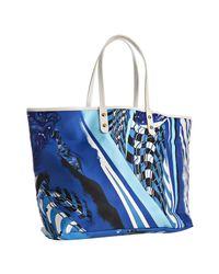 Emilio Pucci | Blue Printed Nylon Calfskin Trim Tote Bag | Lyst