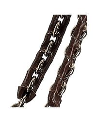 Fendi - Dark Brown Pebble Leather Chain Large Tote - Lyst