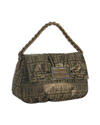 Fendi | Brown Tobacco and Gold Zucca Canvas Chain Shoulder Bag | Lyst