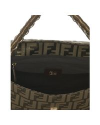 Fendi - Brown Tobacco and Gold Zucca Canvas Chain Shoulder Bag - Lyst