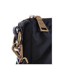 Prada - Black Nylon Jacquard Logo Leather Detail Bag - Lyst