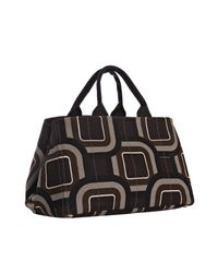 Prada | Brown Canvas Geometric Pattern Tote | Lyst