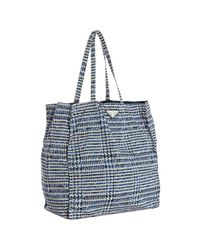 Prada | Blue Navy Printed Nylon Tote Bag | Lyst