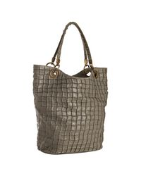 Stella McCartney | Gray Grey Foil Printed Canvas Pleated Tote | Lyst