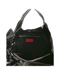 Valentino   Black Lacquered Fabric Lacca Nuage Bow Detail Hobo   Lyst