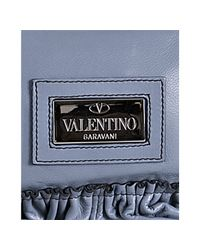 Valentino - Light Blue Leather Ruffle Detail Shoulder Bag - Lyst