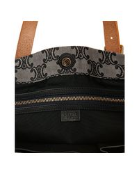 Céline - Black Canvas Jacquard Leather Trim Tote - Lyst