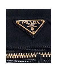 Prada - Black Nylon Leather Trim Flat Shoulder Bag - Lyst