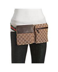 Gucci | Dark Brown Gg Canvas Pocket-detail Belt Bag | Lyst