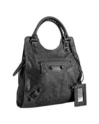 Balenciaga | Gray Anthracite Lambskin Giant Covered Brief Bag | Lyst