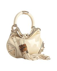 Gucci | White Ivory Patent Indy Bamboo Tassel Mini Bag | Lyst