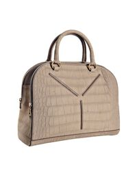 Saint Laurent - Natural Beige Croc Embossed Suede Ysl 32 Bag - Lyst