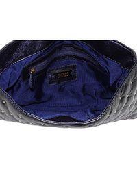 Badgley Mischka - Blue Kelly Studded Leather Flap Bag - Lyst
