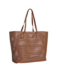 Prada | Brown Orange Cut-out Saffiano Shopping Tote | Lyst