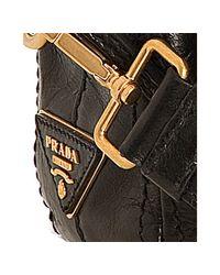 Prada | Black Vitello Shine Leather Bauletto Small Zip Satchel | Lyst