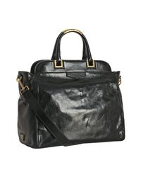Prada | Black Vitello Shine Leather Frame Top Shopping Tote | Lyst