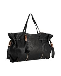 Sorial | Black Leather Zip Detail Large Tassel Tote | Lyst