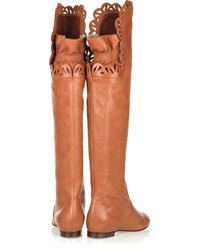 Chloé - Brown Cutout Flat Leather Boots - Lyst