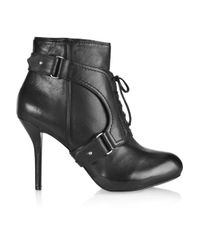 DKNY - Black Sylvana Lace-up Leather Boots - Lyst