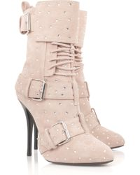 Giuseppe Zanotti - Pink Crystal-embellished Suede Boots - Lyst