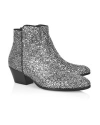Giuseppe Zanotti | Metallic Glitter Leather Ankle Boots | Lyst