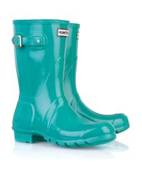 HUNTER | Blue Original Short Wellington Boots | Lyst