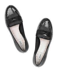 Miu Miu - Black Studded Patent Leather Loafer - Lyst