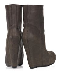 Rick Owens - Brown Leather Wedge Boots - Lyst