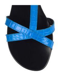 Tapeet - Blue Croc-print Leather Sandals - Lyst