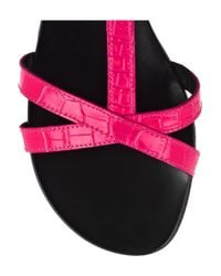 Tapeet - Pink Croc-print Leather Sandals - Lyst
