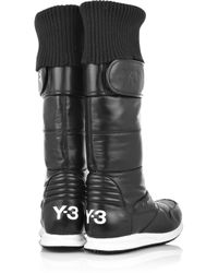 Y-3 - Black Leather and Shell Snow Boots - Lyst