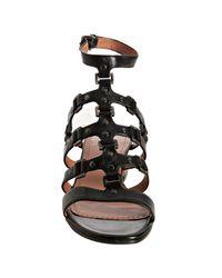 Alaïa - Black Studded Leather T-strap Block Heel Sandals - Lyst