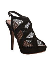 Alaïa | Black Suede Netted Platform Sandals | Lyst