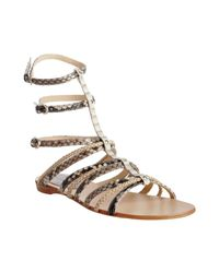 Alexandre Birman | Natural Python and Braided Leather Gladiator Sandals | Lyst