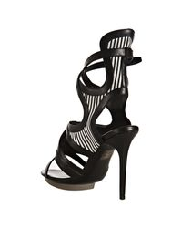 Balenciaga | Black Striped Canvas and Leather Ankle Wrap Sandals | Lyst