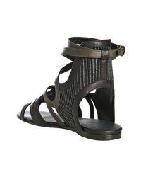 Balenciaga | Black Striped Canvas Ankle Wrap Sandals | Lyst