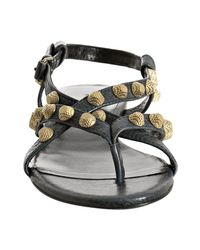 Balenciaga - Dark Blue Studded Thong Flat Sandals - Lyst