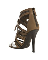 Balmain | Natural Khaki Leather Strappy Zip Sandals | Lyst