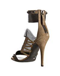 Balmain - Natural Khaki Suede Chainmail Sandals - Lyst