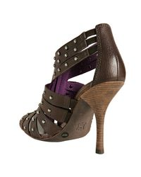 BCBGMAXAZRIA - Brown Chestnut Studded Leather Aceline Zip Sandals - Lyst