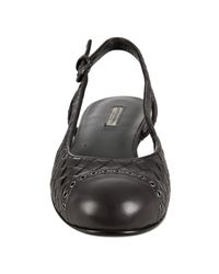 Bottega Veneta - Brown Woven Leather Cap-toe Slingback Flats - Lyst