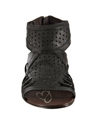 Boutique 9 - Black Perforated Leather Phiona Back Zip Sandals - Lyst
