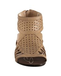 Boutique 9 - Natural Perforated Leather Phiona Back Zip Sandals - Lyst