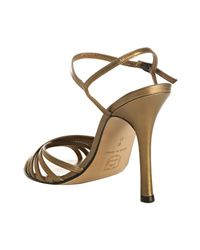 Charles David - Metallic Bronze Leather Fortune Strappy Sandals - Lyst