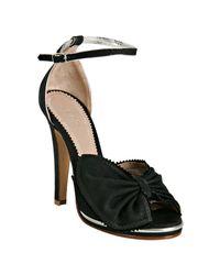 Chloé | Black Canvas Bow Detail Sandals | Lyst