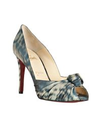 Christian Louboutin - Light Blue Fabric Peep Toe Gress 100 Pumps - Lyst