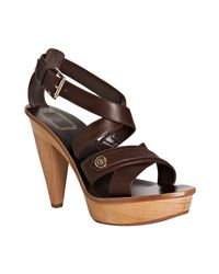 Dior | Brown Chocolate Leather Initiales Platform Sandals | Lyst
