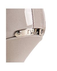Dior   Gray Grey Patent Calfskin Miss Peep Toe Pumps   Lyst
