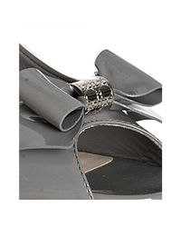 Dior - Gray Grey Patent So Bow Peep Toe Pumps - Lyst