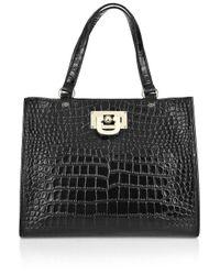 DKNY | Black Crocodile Work Shopper | Lyst